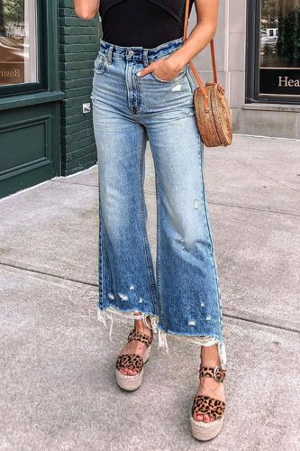 Roselypink Raw Edge Blue Flares Jeans