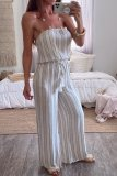 Roselypink Dew Shoulder Striped Whtie One-piece Jumpsuit