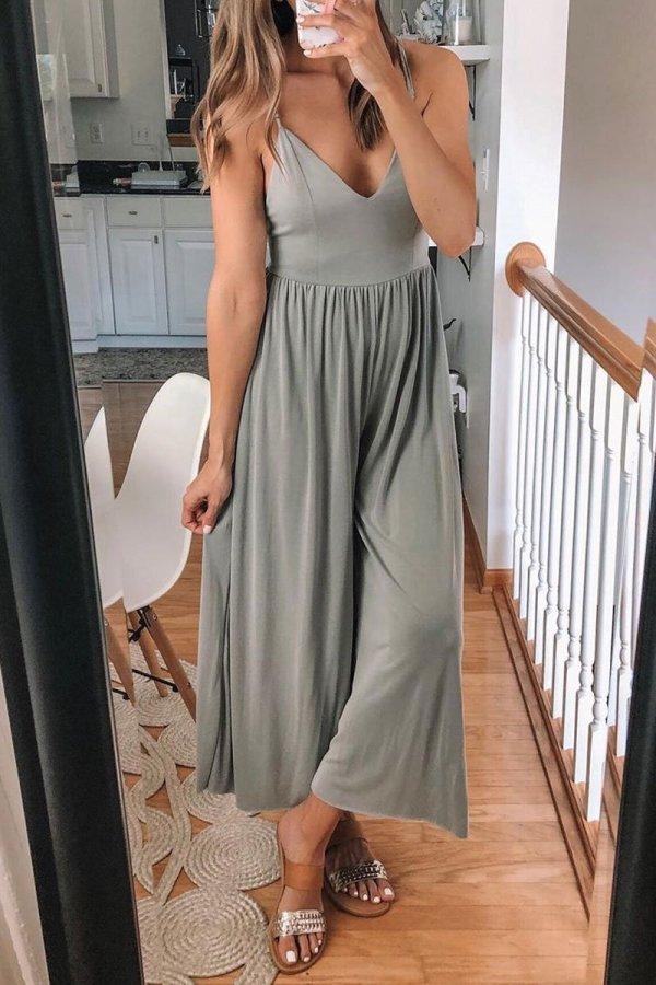 Roselypink V Neck Backless Grey One-piece Jumpsuit