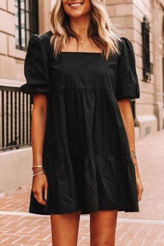 Roselypink Fold Design Black Mini Dress·Presale