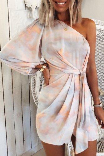 Roselypink One Shoulder Tie-dye Multicolor Mini Dress