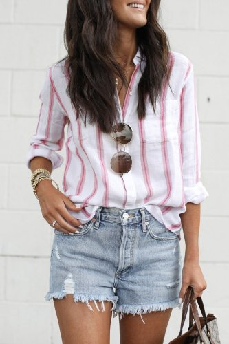 Roselypink Striped Pink Blouse