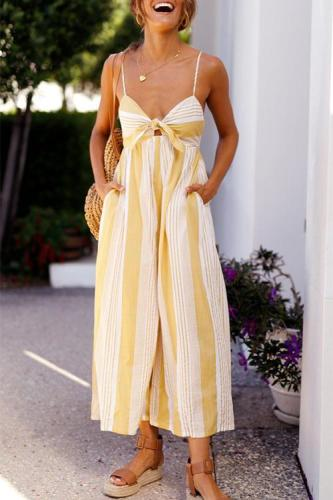 Roselypink Street V Neck Yellow Striped Polyester One-piece Jumpsuits