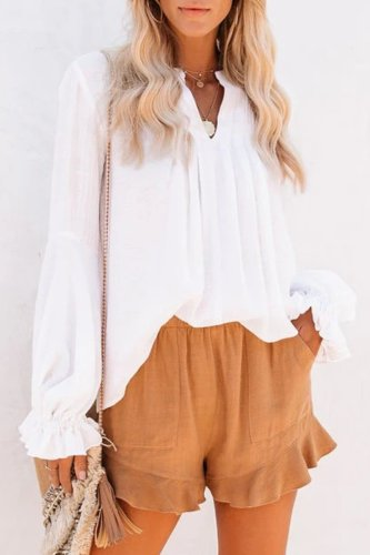 Roselypink Fold Design White Blouse