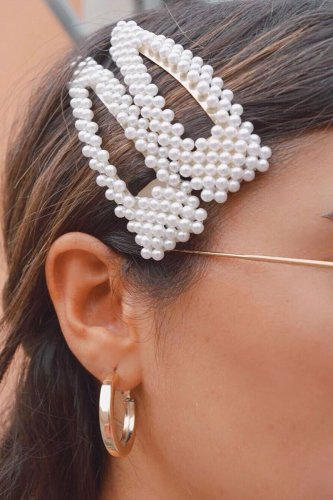 Roselypink Pearl Hollow-out Silver Hairpin