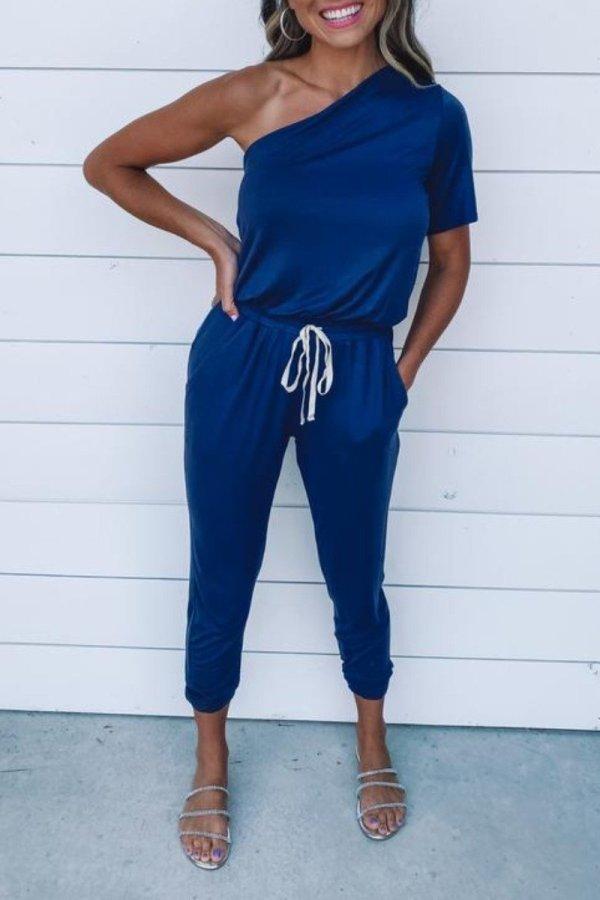 Roselypink One Shoulder Lace-up Blue One-piece Jumpsuit