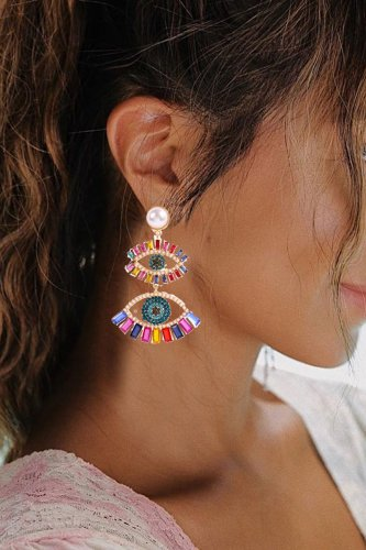 Roselypink Tassel Eye Hollow-out Multicolor Earring