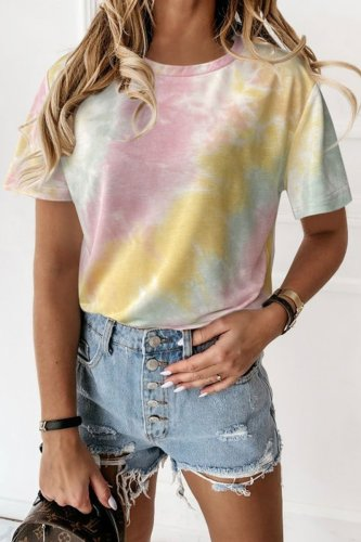 Roselypink Tie-dye Multicolor T-shirt