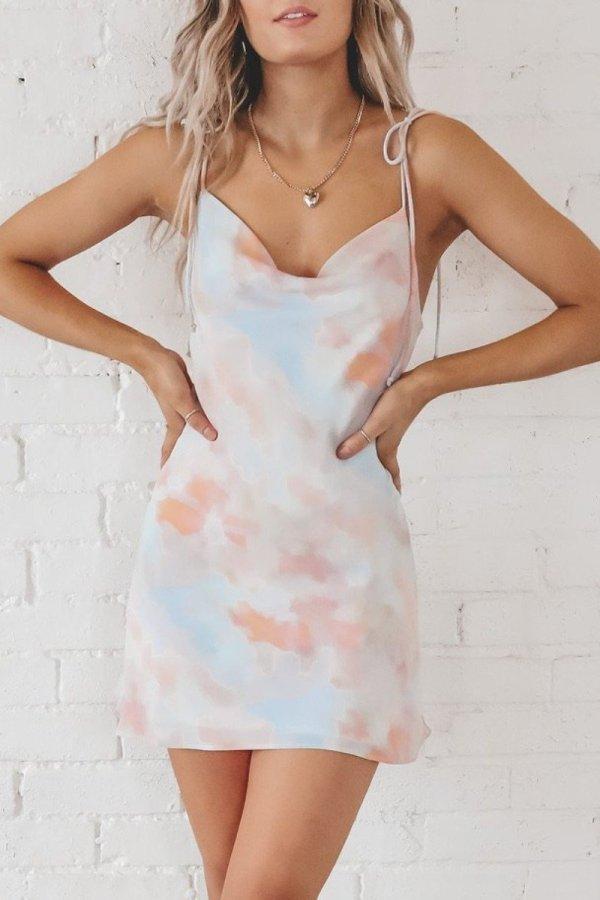 Roselypink Tie-dye White Mini Dress