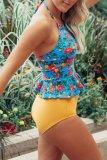 Roselypink Flounce Print Blue Tankini Bikini Set