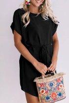 Roselypink O Neck Lace-up Black Knee Length Dress