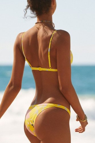 Roselypink Bandeau Printed Yellow Bikini Set