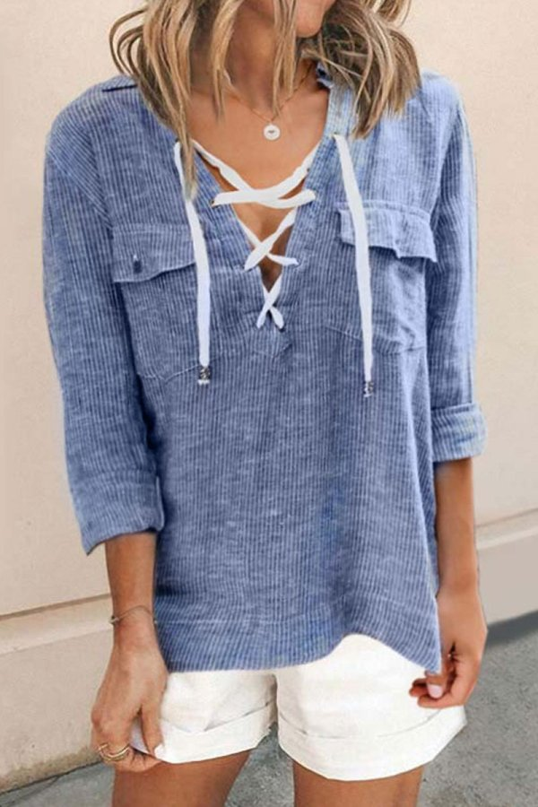 Roselypink V Neck Drawstring Pinstripe Blue Blouse