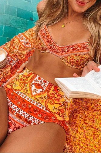 Roselypink Boho Printed Yellow Bikini Set