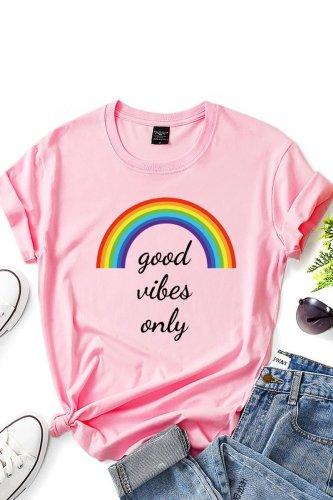 Roselypink O Neck Letter Print Pink T-shirt