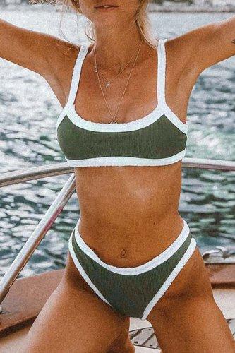Roselypink Patchwork Green Bikini Set