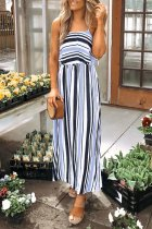 Roselypink Spaghetti Straps Striped Blue Ankle Length Dress(Nonelastic)