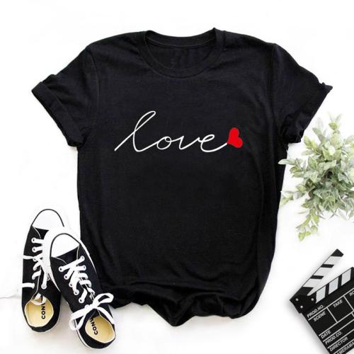 Roselypink LOVE O Neck Print Black T-shirt