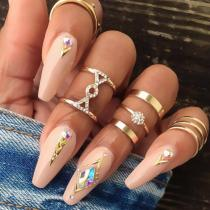 Roselypink Trendy 5-piece Gold Ring