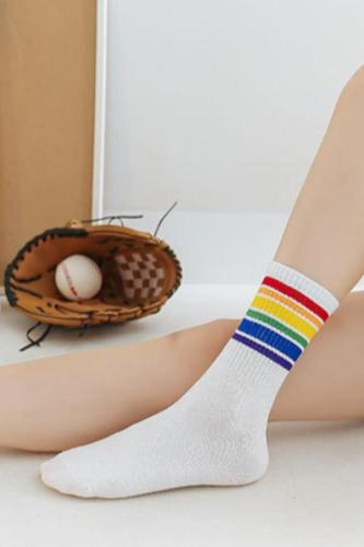 Roselypink Rainbow Striped White Socks(5 Pairs)