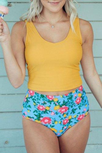 Roselypink Flower Print Yellow Tankini Bikini Set