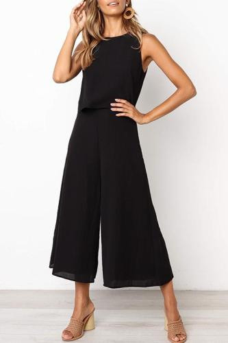 Roselypink Loose Black One-piece Jumpsuit