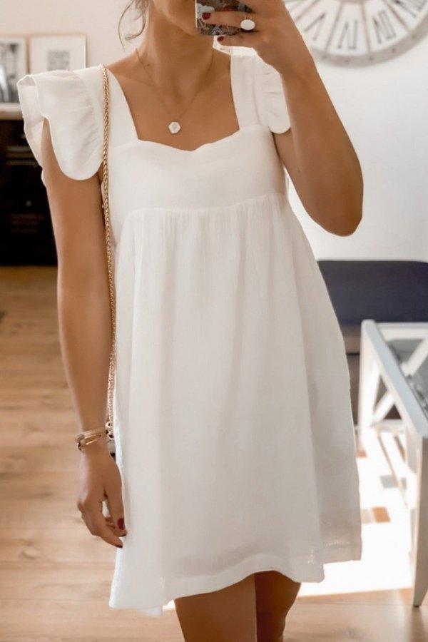 Roselypink Fold Design White Mini Dress