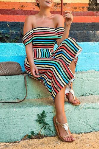 Roselypink Dew Shoulder Striped One-piece Jumpsuit