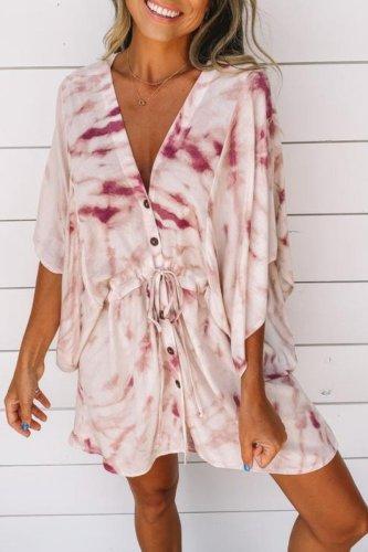 Roselypink V Neck Tie-dye Lace Up Purple Mini Dress