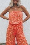 Roselypink Off  Shoulder Floral Printed Orange One-piece Jumpsuit·Presale