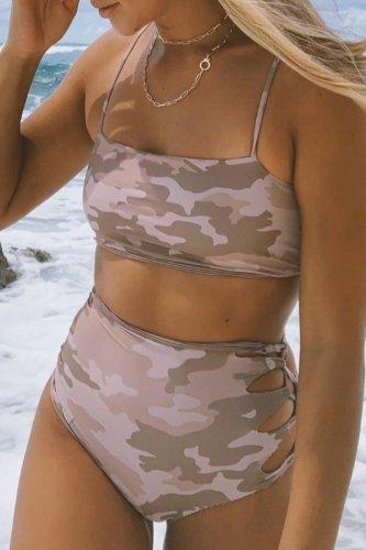 Roselypink Bandeau Cutout Camo Printed Bikini Set