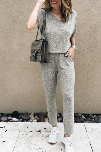 Roselypink Casual Loose Grey Blending One-piece Jumpsuit