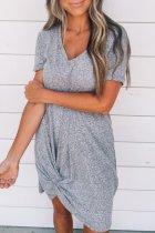 Roselypink V Neck Knot Design Grey Mini Dress