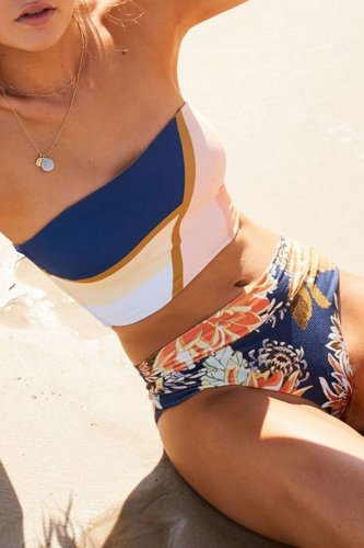 Roselypink Bandeau Printed Blue Bikini Set