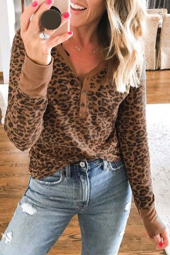 Roselypink Leopard Printed Coffee T-shirt