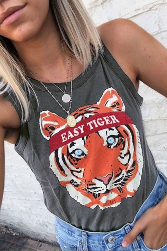 Roselypink Tiger Printed Grey Camisole