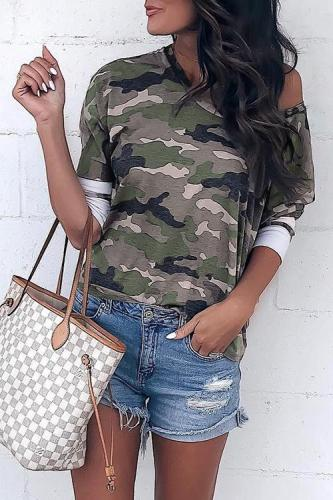 Roselypink Casual Camouflage Printed Blending T-shirt