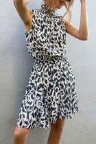 Roselypink Leopard Printed Black Mini Dress