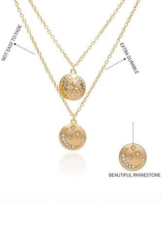 Roselypink Rhinestone Decorative Gold Necklace