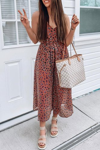 Roselypink Leopard Printed Loose One-piece Jumpsuit