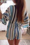 Roselypink Boho V Neck Striped Blue One-piece Romper