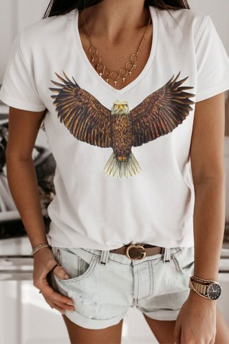 Roselypink Eagle Printed White T-shirt