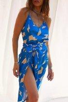 Roselypink V Neck Print Blue Midi Dress