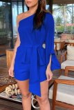 Roselypink One Shoulder Lace-up Deep Blue One-piece Romper