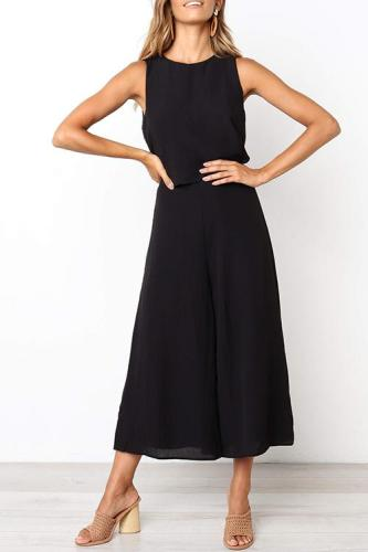 Roselypink Loose Black One-piece Jumpsuit