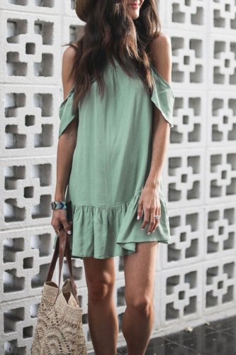 Roselypink Dew Shoulder Sap Green Mini Dress (Nonelastic)