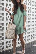 Roselypink Dew Shoulder Sap Green Mini Dress (Nonelastic)