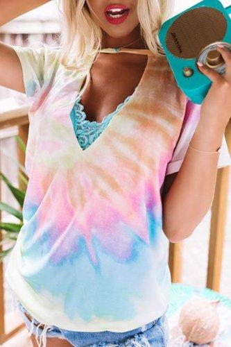 Roselypink Tie-dye Print Lace Multicolor T-shirt