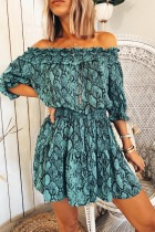 Roselypink Off  Shoulder Snakeskin Printed  Blue Mini Dress