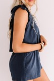 Roselypink One Shoulder Lace-up Blue One-piece Romper
